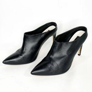 TOPSHOP Black Leather Pump Mule Pointed Toe 40